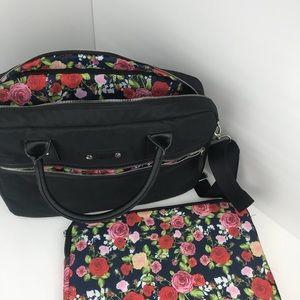 Handbags - Black and Floral Messenger & Laptop Bag